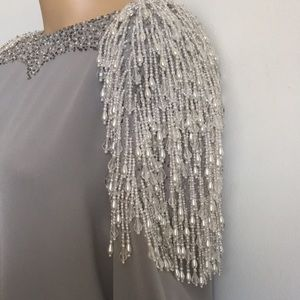 VTG 80s Beaded Fringe Statement Blouse M L